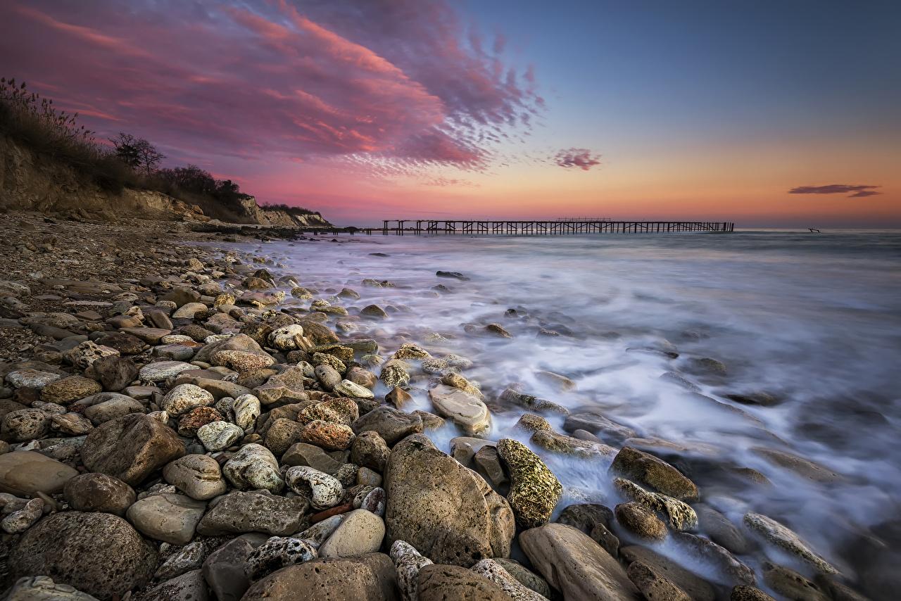 Bilder Natur Wasserwelle Sonnenaufgänge und Sonnenuntergänge Steine Küste