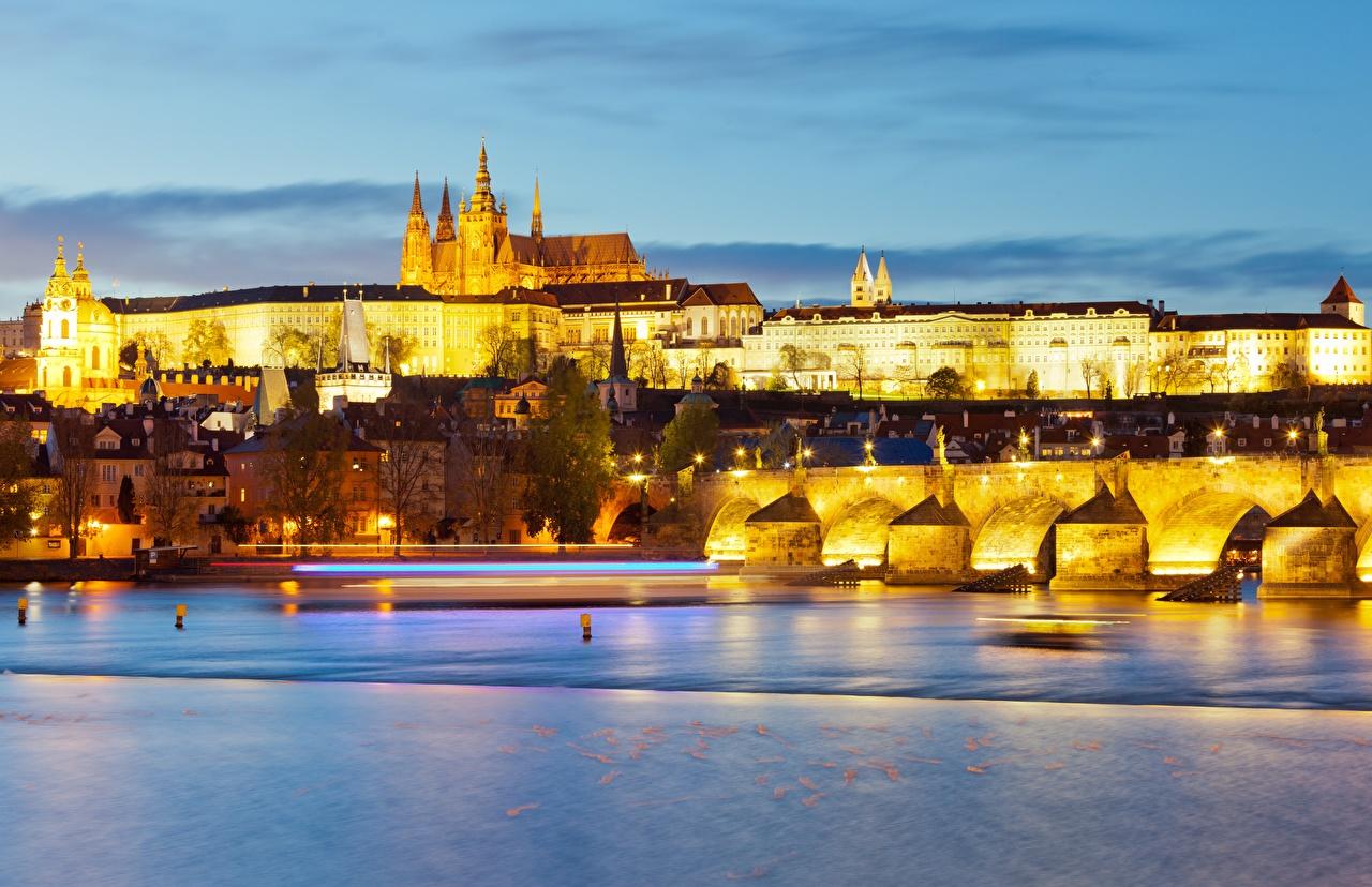 Desktop Wallpapers Cities Czech Republic Prague Castle, Vltava Castles Bridges river Evening Charles Bridge castle bridge Rivers