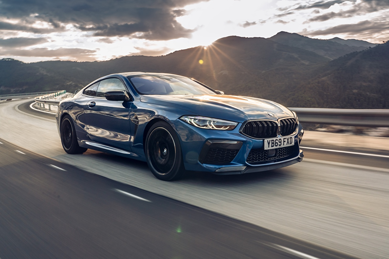 Image BMW Competition, UK-Spec, 2019, M8, F92 Coupe Blue Motion Cars Metallic moving riding driving at speed auto automobile