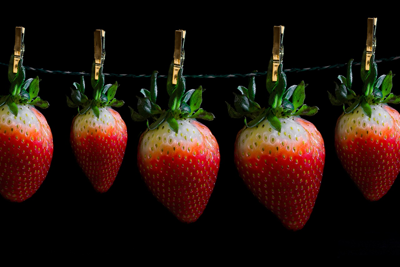 Images Clothespin Creative Strawberry Food Berry Black background peg
