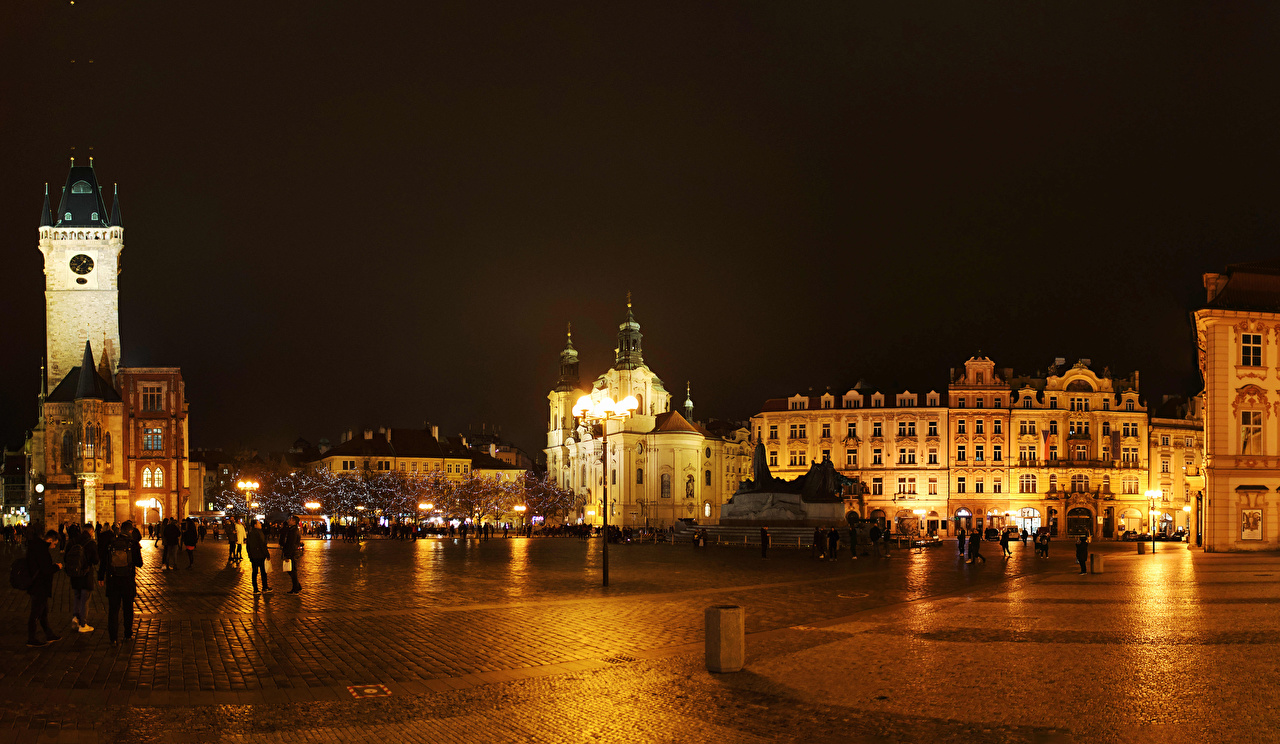 Picture Czech Republic Town square Prague Square Night Street lights Houses Cities night time Building