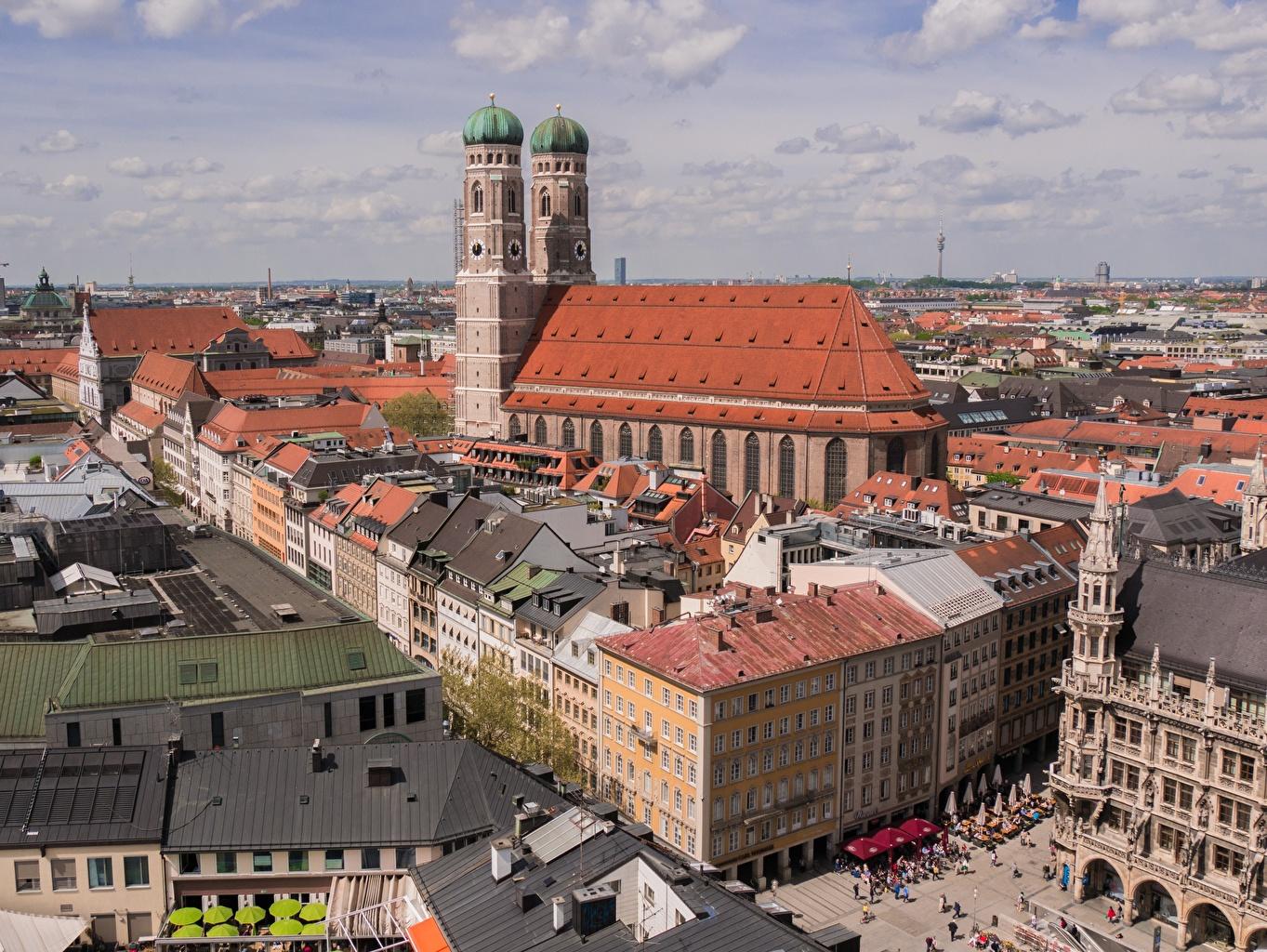 、ミュンヘン、住宅、ドイツ、大聖堂、Frauenkirche、バイエルン州、屋根、建物、都市、