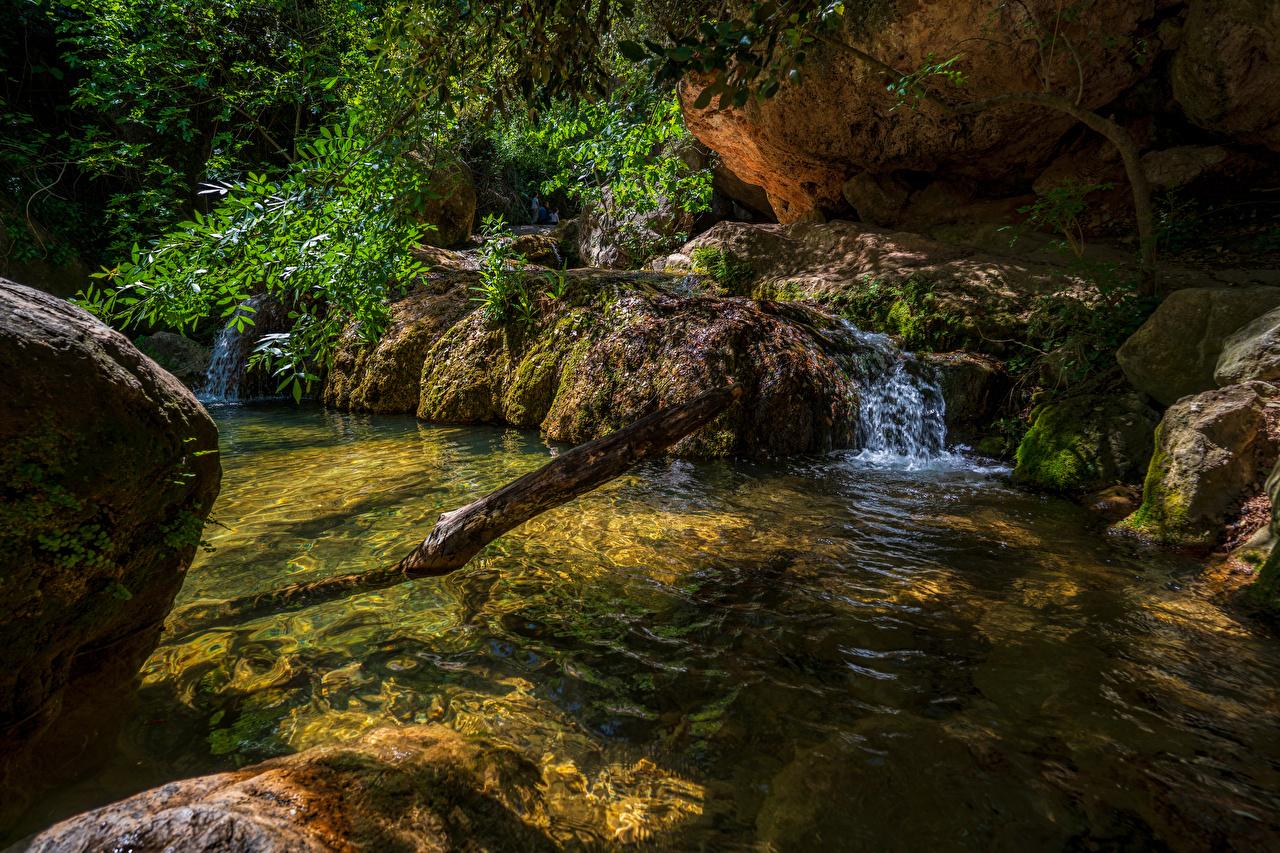 Wallpaper Spain Cliff Nature Streams stone Crag Rock Creek brook Stream Creeks Stones