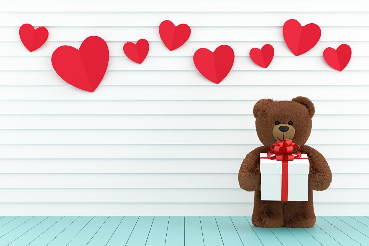 Fotos von Valentinstag Herz Geschenke Teddybär Teddy Knuddelbär