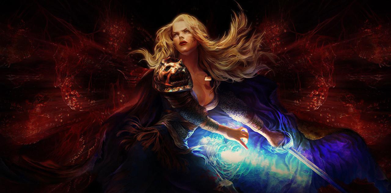 壁紙 ウォリアーズ 魔術 Path Of Exile 剣 ブロンドの女の子