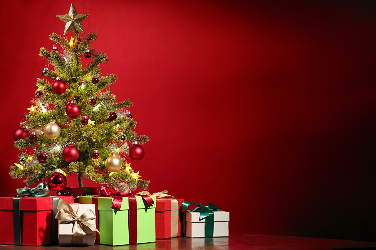 Wallpapers New Year Christmas Tree Gifts Balls Holidays