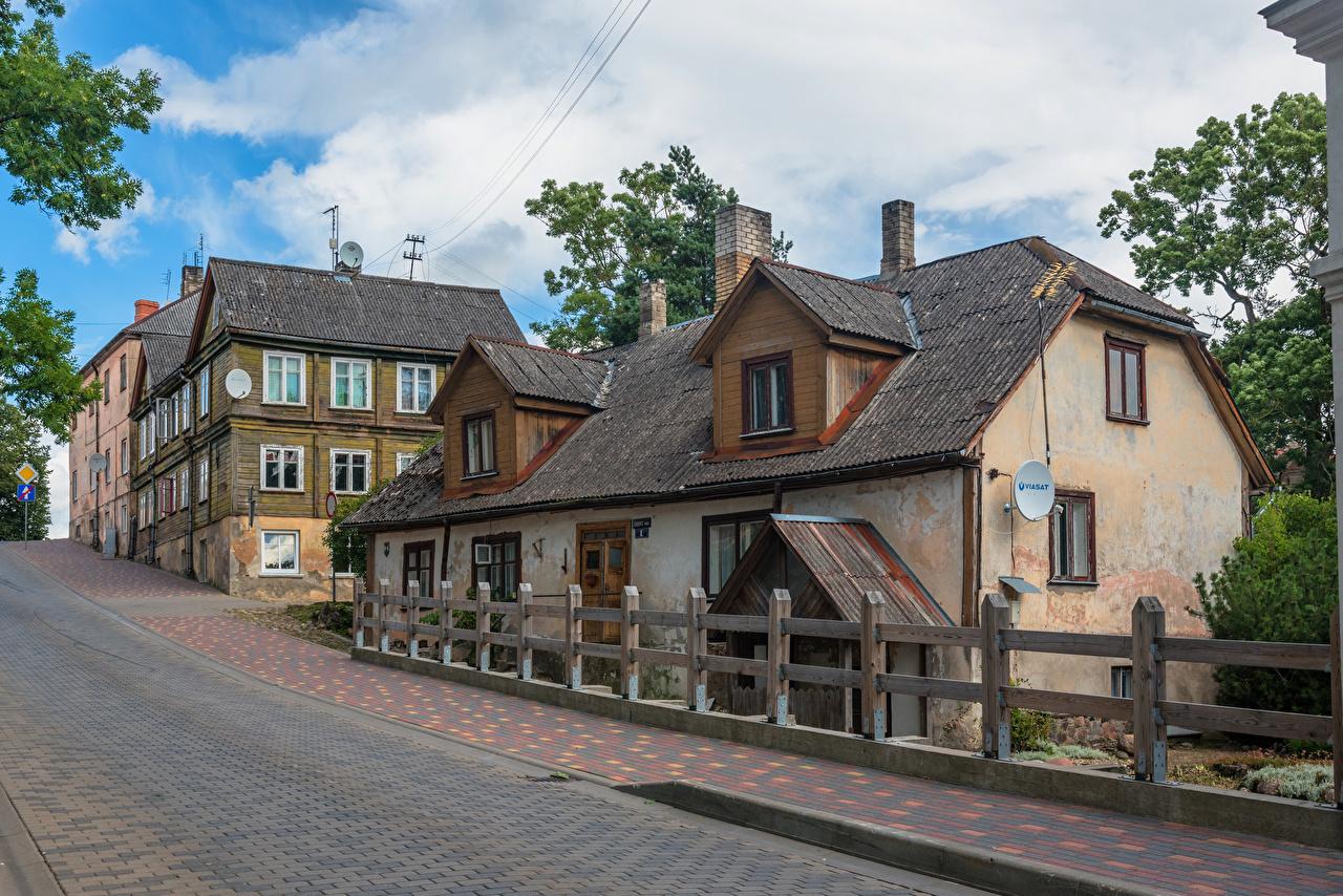 Bilder von Lettland Talsi Stadtstraße alter Städte Gebäude Straße Alt alte Haus