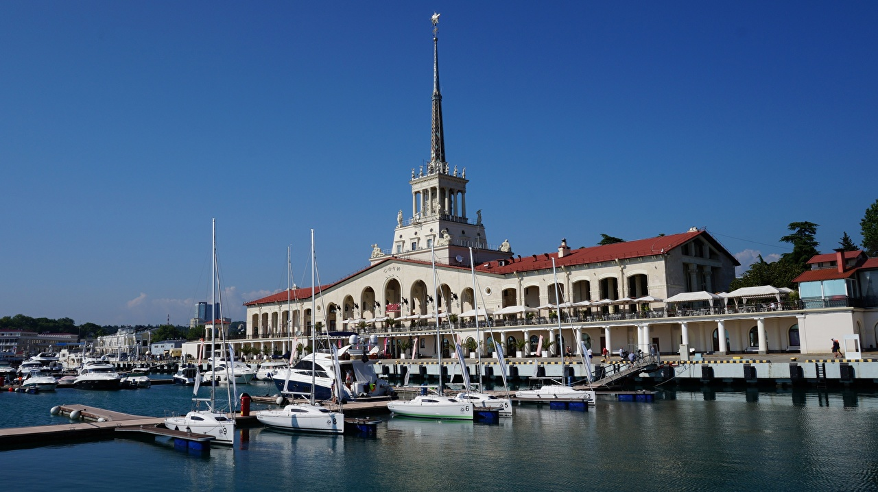 Pictures Sochi Russia Yacht Marinas Cities Building Pier Berth Houses