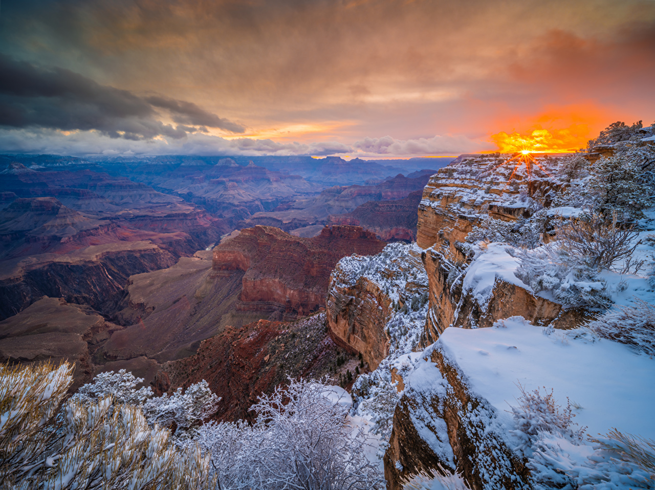 Image Grand Canyon Park USA Arizona Rock Nature canyons park Sunrises and sunsets Crag Cliff Canyon Parks sunrise and sunset