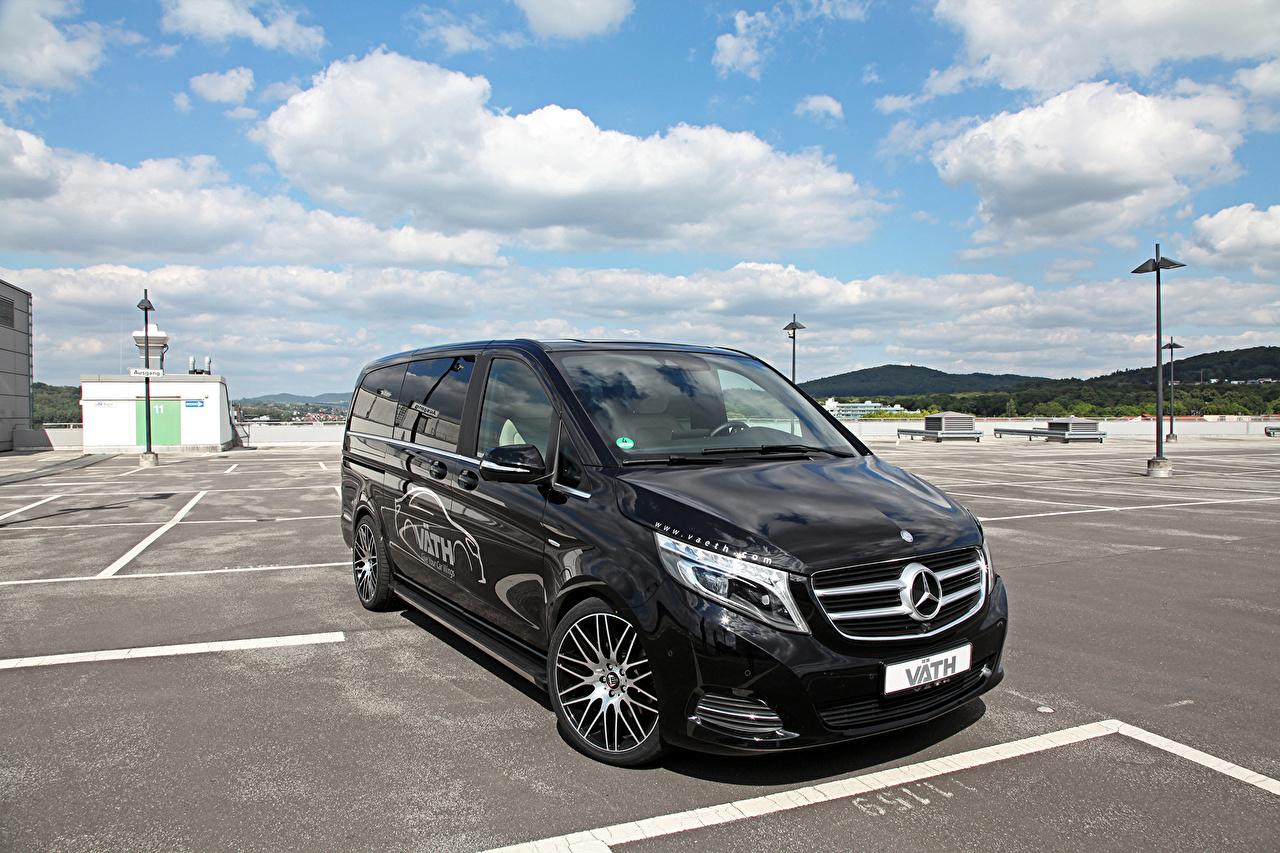 Photos Mercedes-Benz 2015 VATH Mercedes V250 Bluetec W447 Parking Black Cars Metallic parked auto automobile