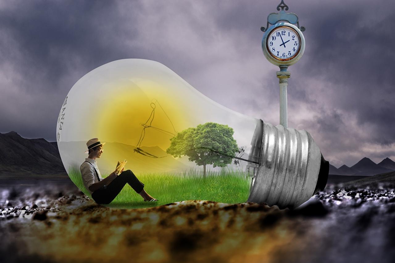 Desktop Wallpapers Man Light bulb Creative Sitting Men sit