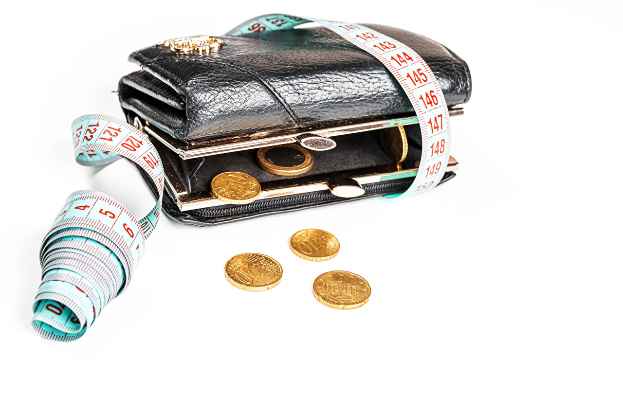 Photos Coins Wallet Tape measure Money White background