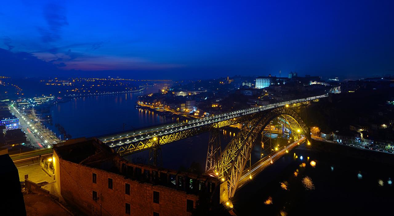 Wallpaper Porto Portugal Bridges river night time Street lights Cities Building Oporto bridge Night Rivers Houses