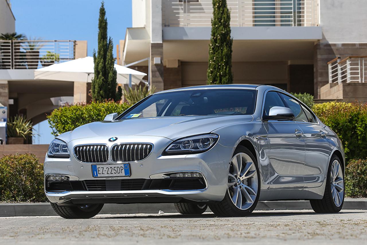 Desktop Wallpapers BMW 2015 640d xDrive Gran Coupe F06 Silver color auto Cars automobile
