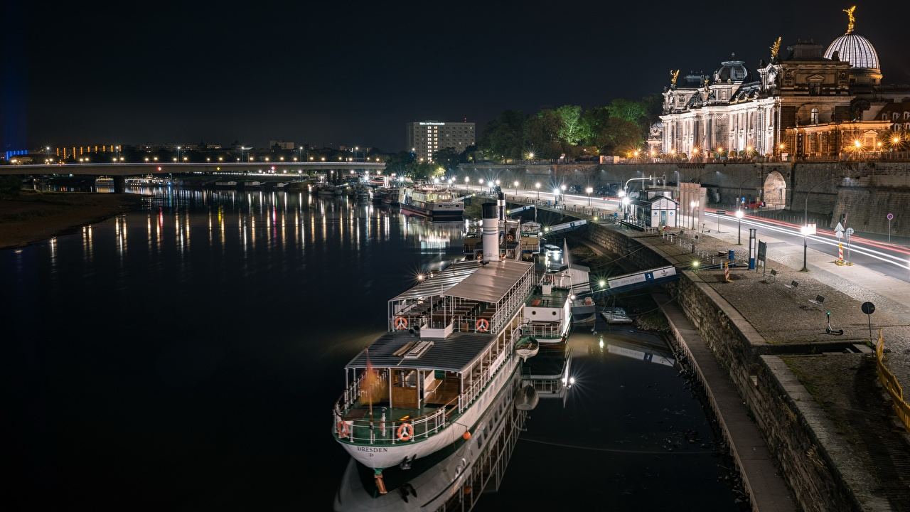 Images Dresden Germany Saxony, Elbe Riverboat Night Rivers Marinas Cities Pier river Berth night time