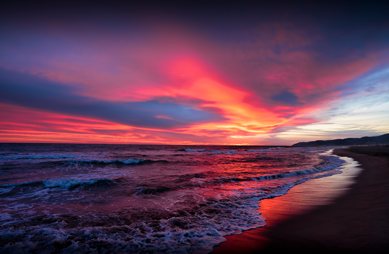 Pictures Spain Catalonia Sea Nature Sky Sunrises and sunsets Coast Clouds sunrise and sunset