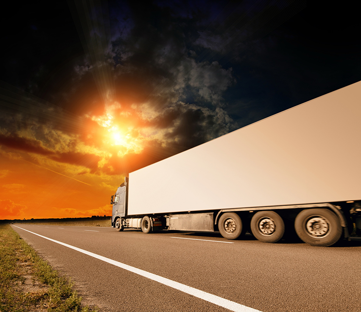 Desktop Wallpapers lorry Roads automobile Clouds Trucks Cars auto