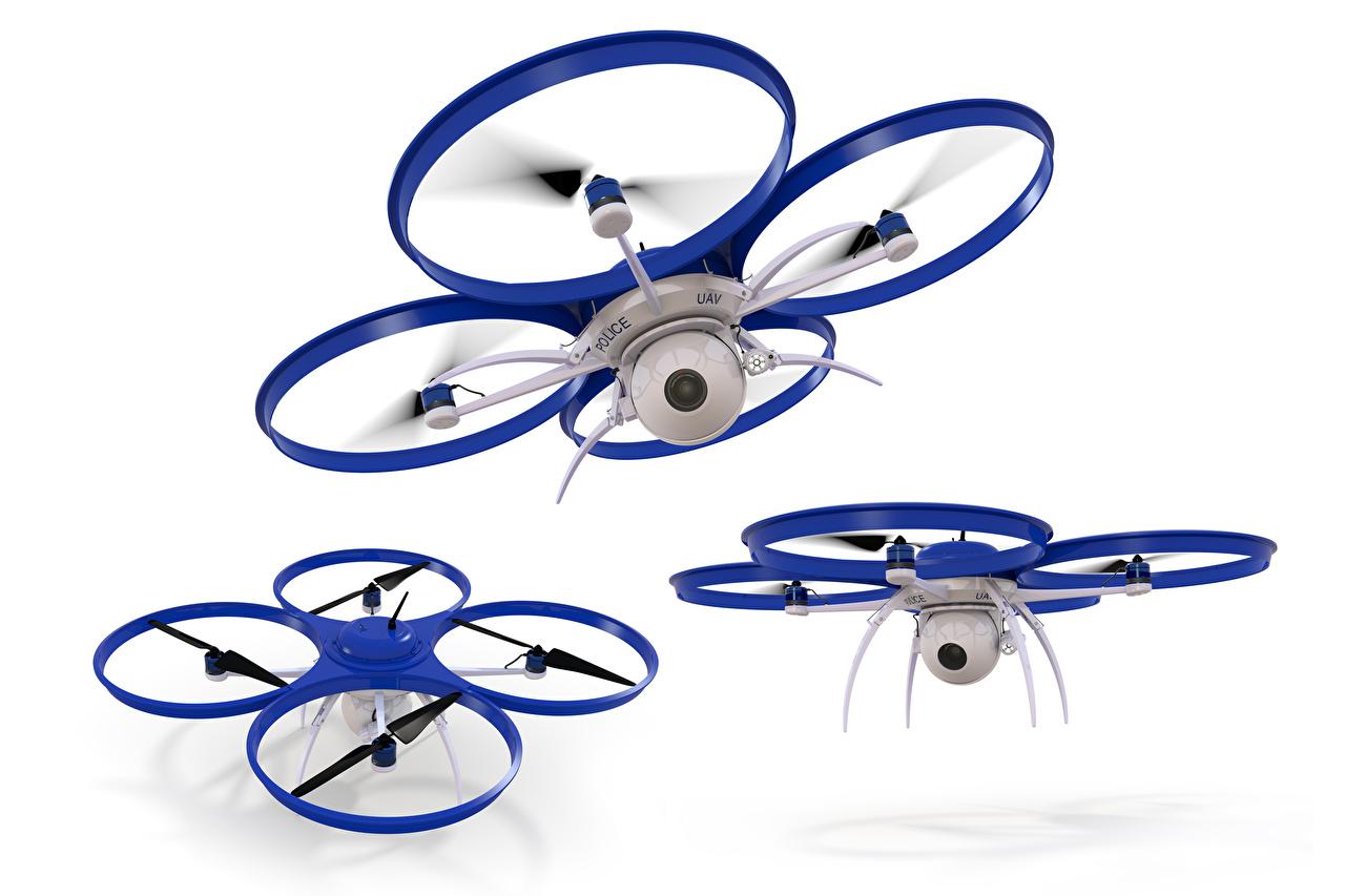 Fotos Quadrocopter UAV Videokamera Drei 3 Weißer hintergrund Luftfahrt Quadrokopter
