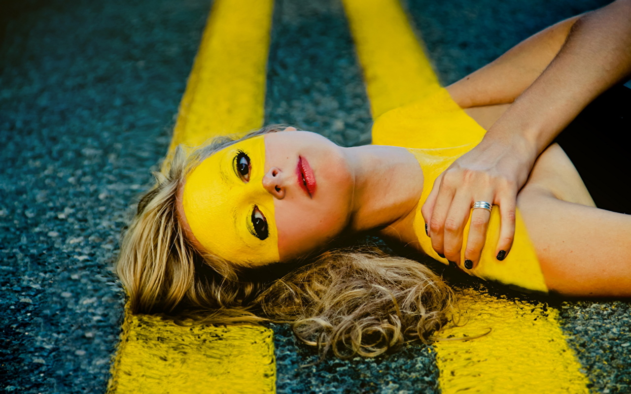 Images Girls Roads Creative Stripes Asphalt Staring female young woman Glance