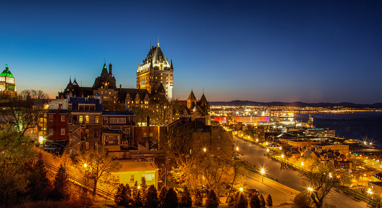 Pictures Quebec Canada Chateau Frontenac castle Night Houses Cities Castles night time Building