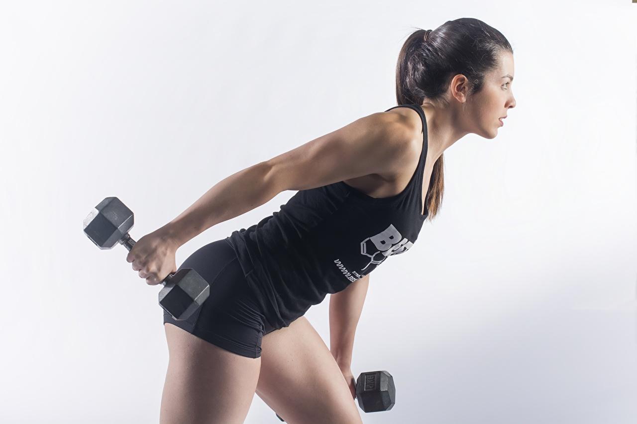 Foto Körperliche Aktivität posiert Fitness Sport Hantel Mädchens Grauer Hintergrund Trainieren Pose Hanteln junge frau sportliches junge Frauen