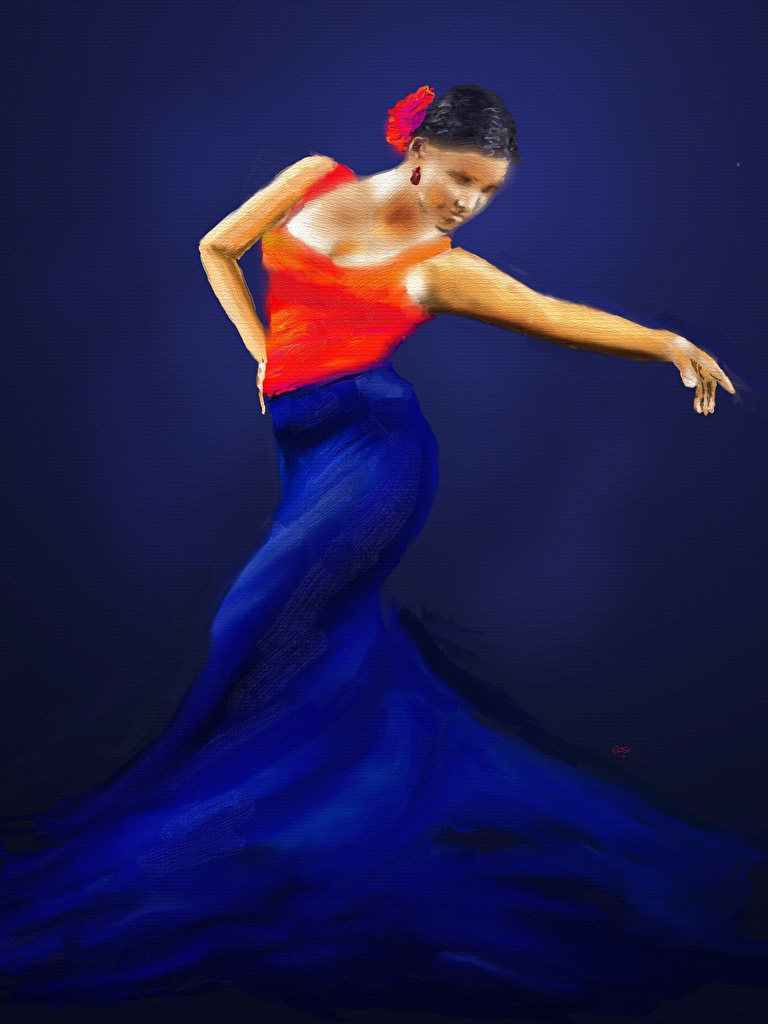 Image Dancing female Painting Art Dress  for Mobile phone Dance Girls young woman gown frock