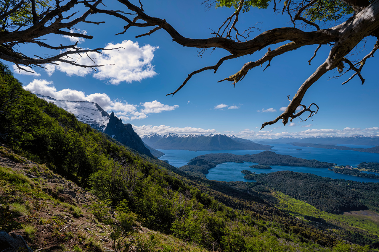 Picture Argentina Bariloche, Patagonia Nature Mountains Sky Lake Scenery Branches mountain landscape photography