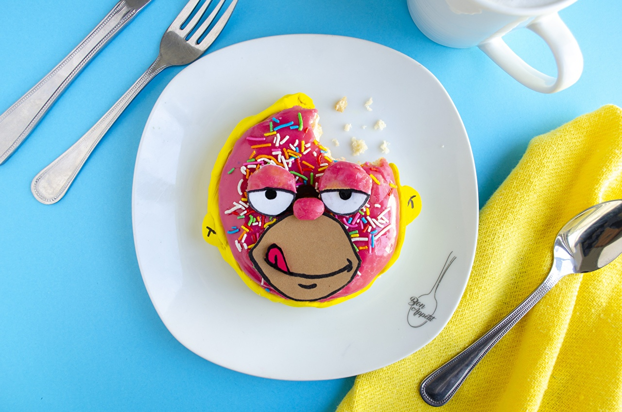 Pictures Simpsons Homer Simpson Face Doughnut Creative Fork Food Spoon Plate Donuts