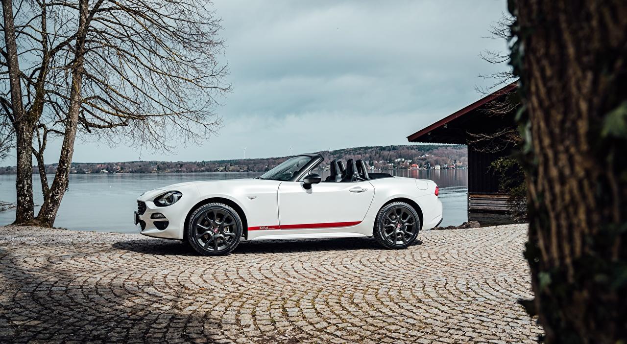 Wallpaper Fiat 124 Spider, S-Design, 2018 Roadster White Cars Side auto automobile