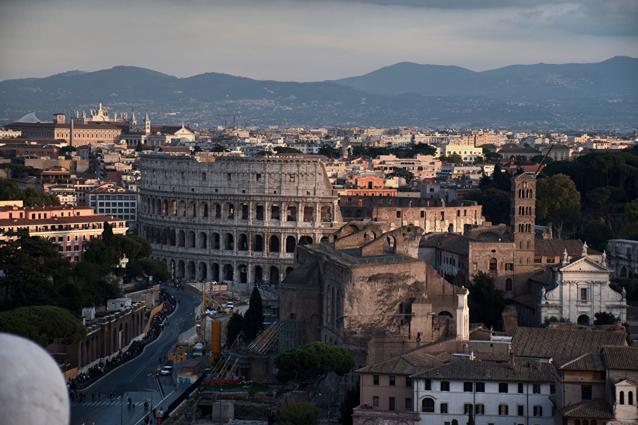 Images Rome Colosseum Italy Mountains Cities Building mountain Houses