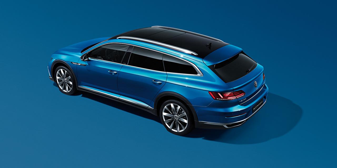Fotos von Volkswagen Kombi CC Shooting Brake 380 TSI, China, 2020 Blau automobil Metallisch Farbigen hintergrund auto Autos
