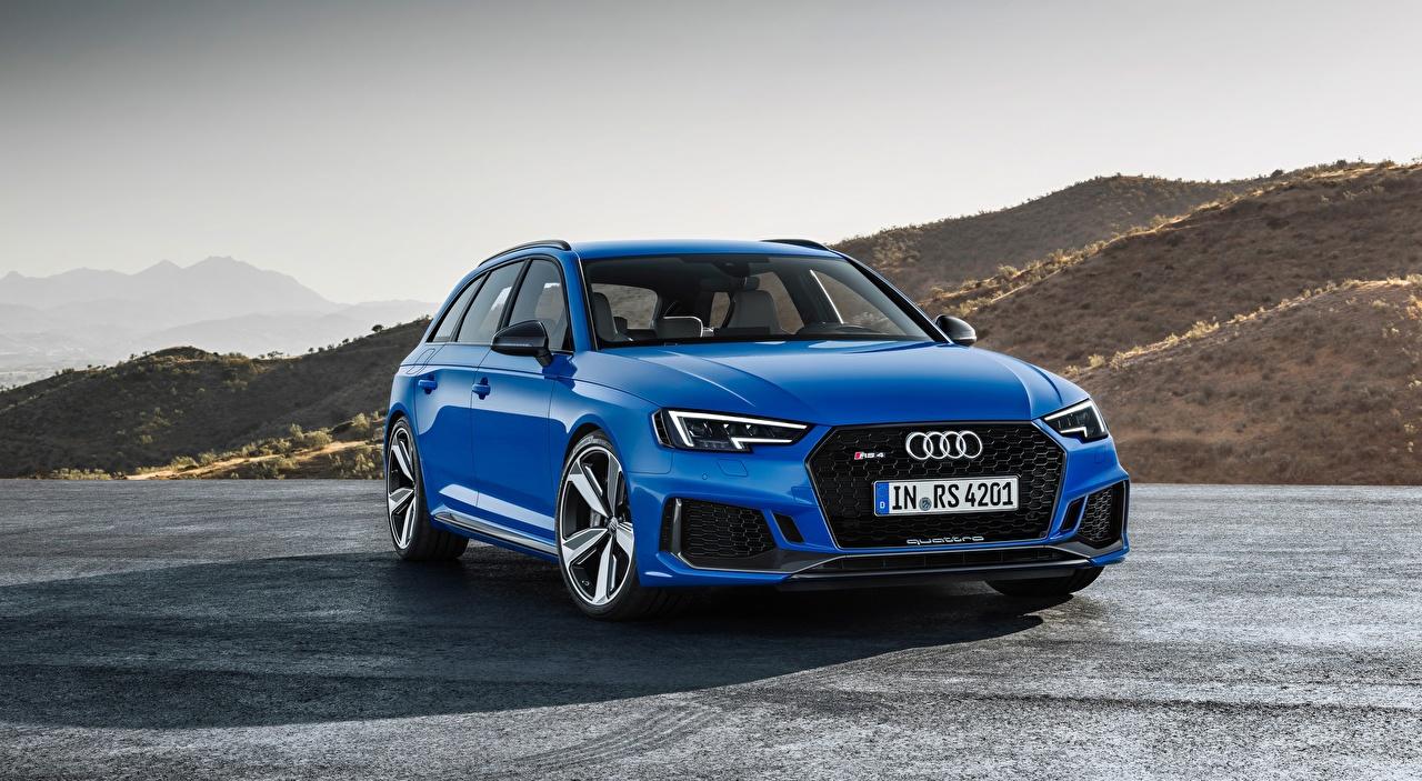 Fotos Audi Kombi RS4 Avant, 2017 Blau Autos Vorne auto automobil