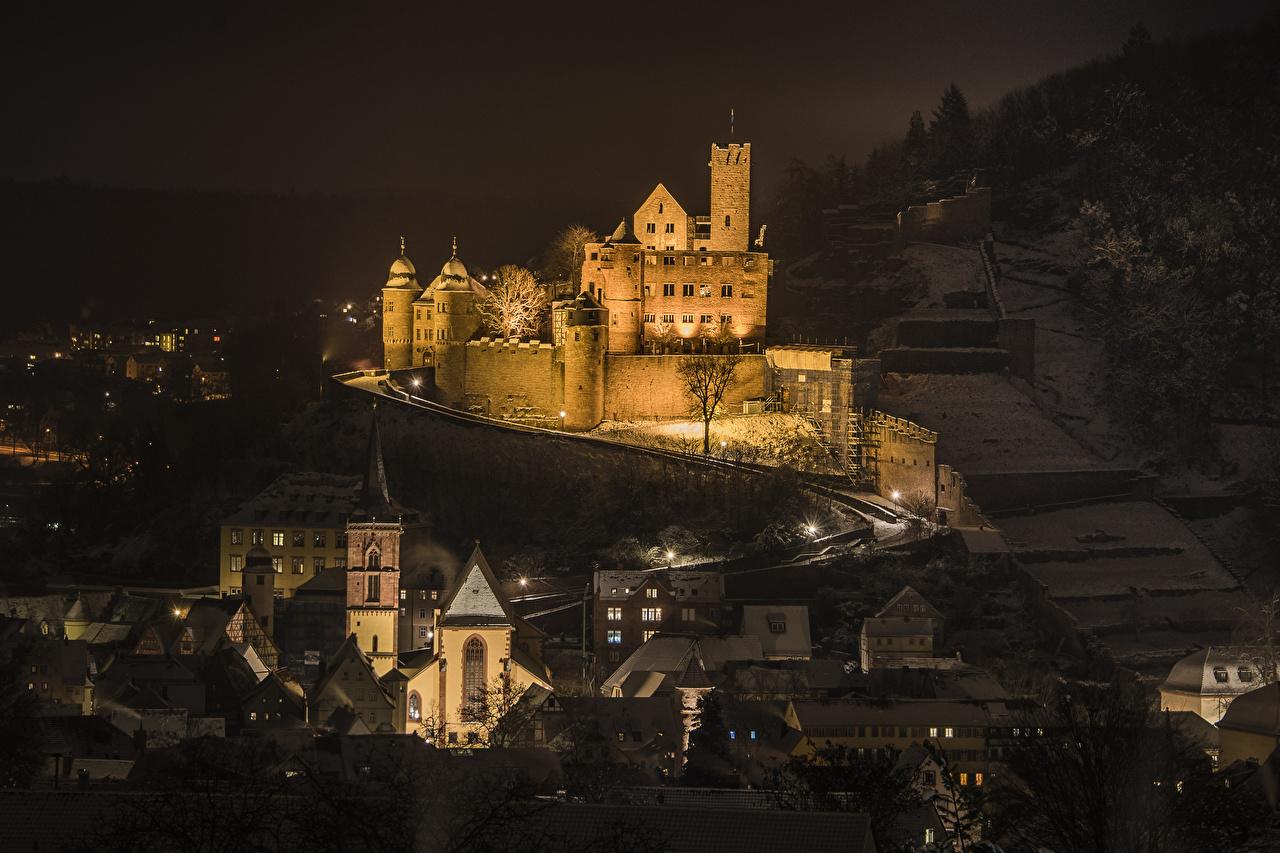 、ドイツ、城、住宅、Wertheim Castle、夜、建物、都市、