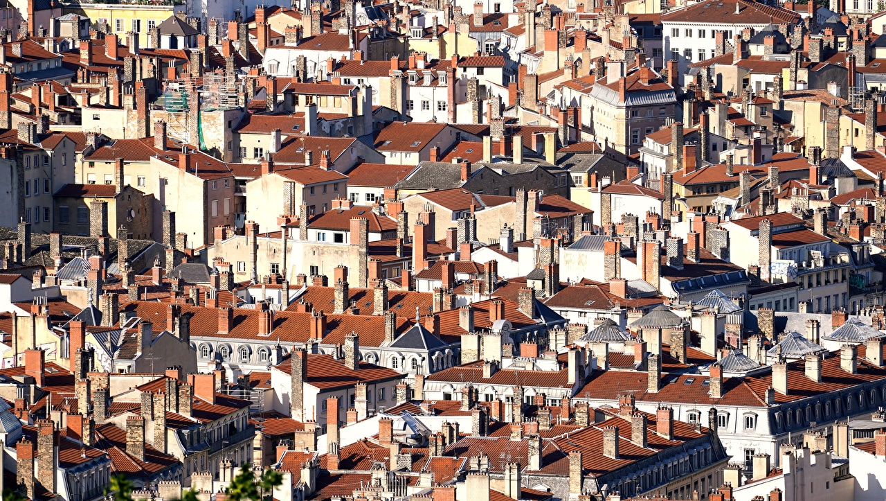 Desktop Wallpapers France Lyon Roof Many Houses Cities Building
