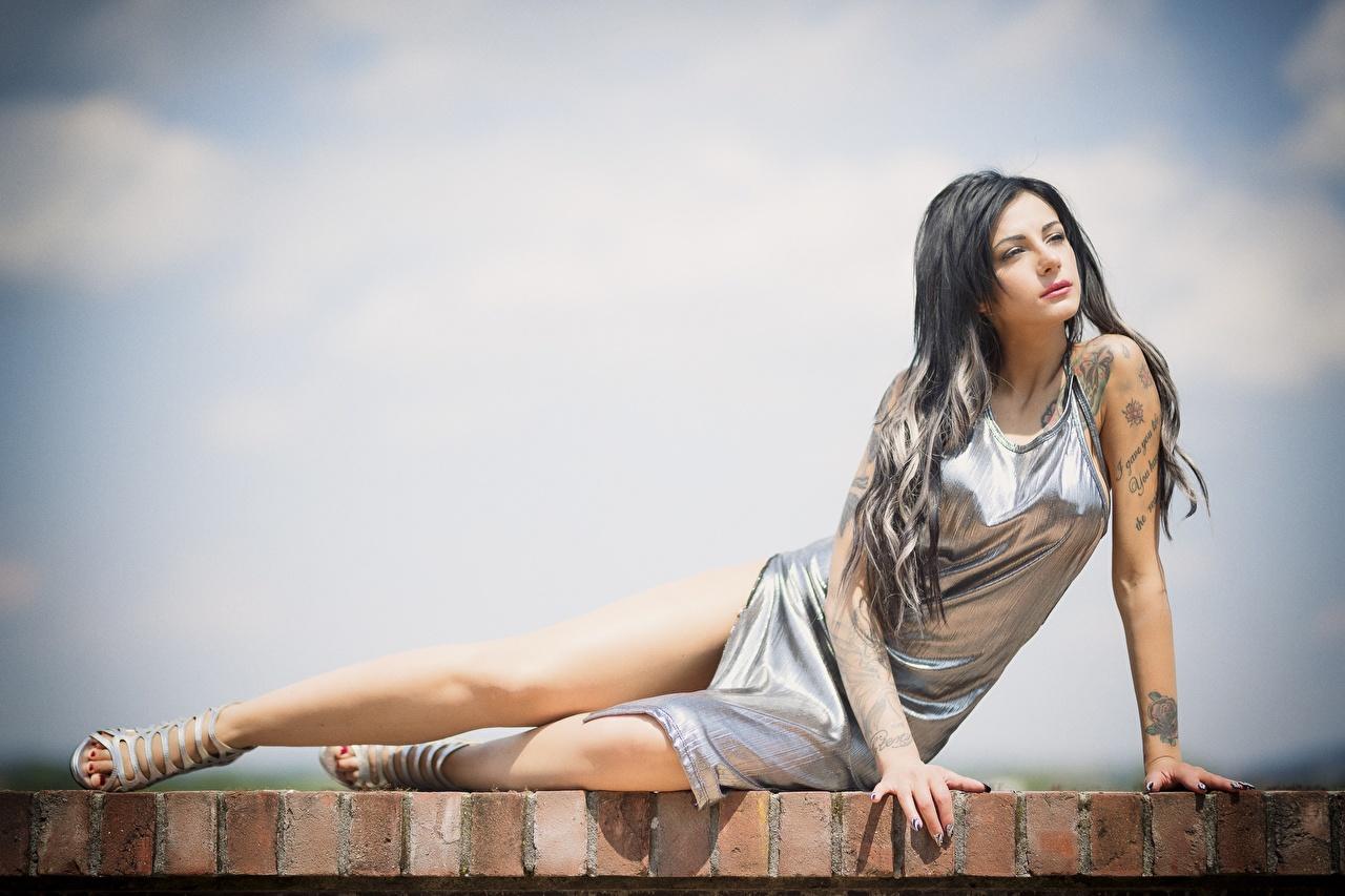 Fotos Tätowierung Brünette Pose Mädchens Bein Hand Kleid posiert junge frau junge Frauen