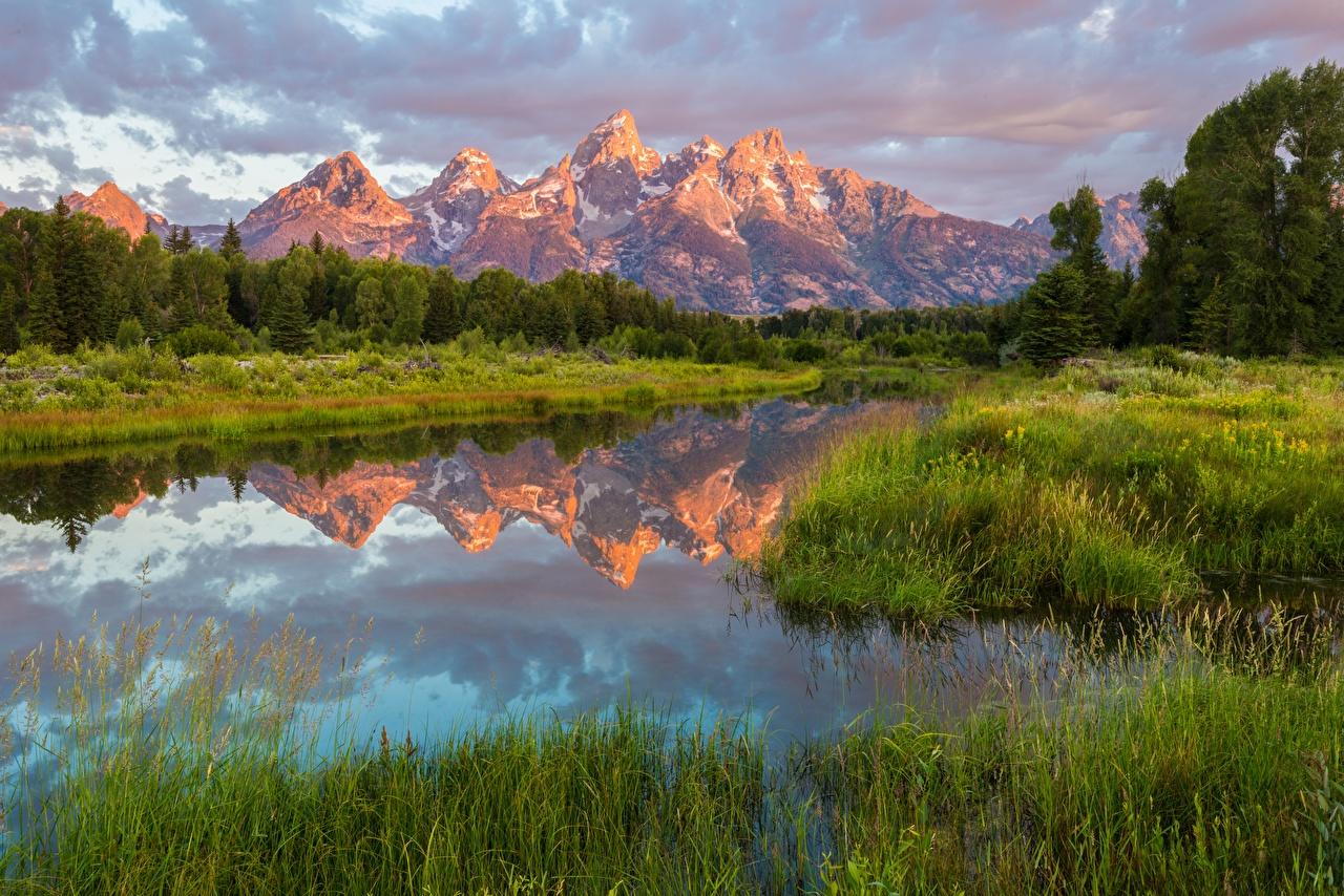 Bilder USA National Park Grand Teton, Wyoming Natur Gebirge See Parks spiegelt Gras Vereinigte Staaten Berg Reflexion Spiegelung Spiegelbild