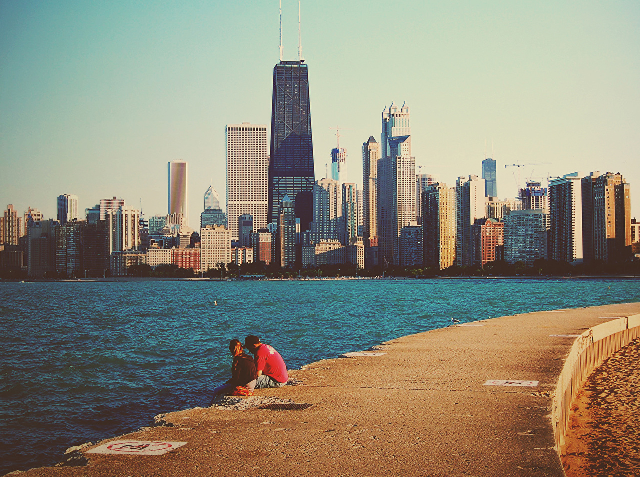 Pictures Chicago city USA megalopolis Michigan Lake Coast Skyscrapers Cities Houses Megapolis Building