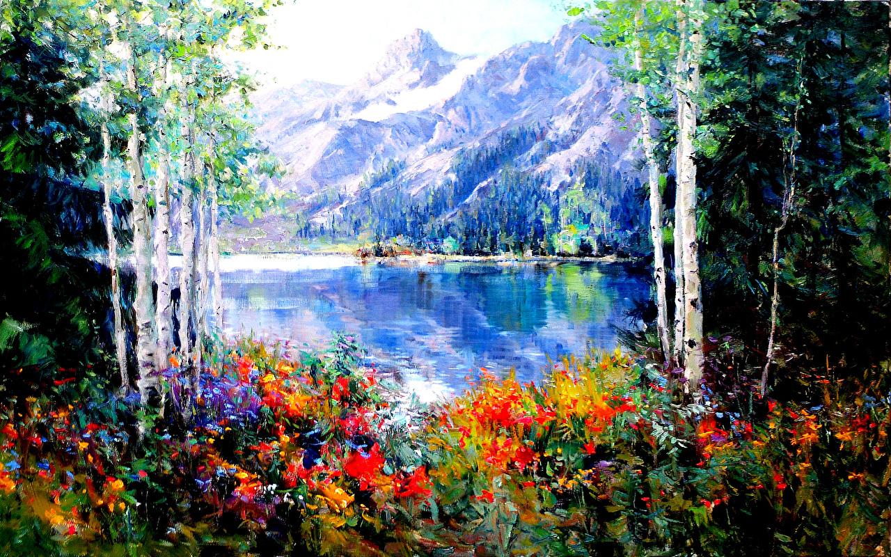 Fonds D Ecran Peinture Photographie De Paysage Lac Montagnes Printemps Arbres Nature Telecharger Photo