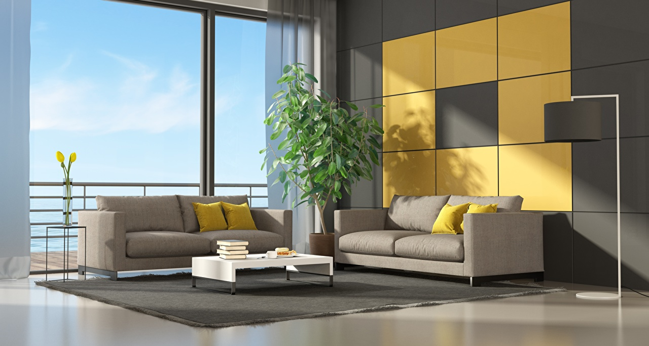 Picture lounge sitting room 3D Graphics Interior Sofa Window Pillows Design Living room Couch