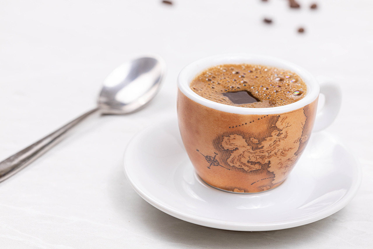Image Coffee Cup Food Spoon Saucer White background