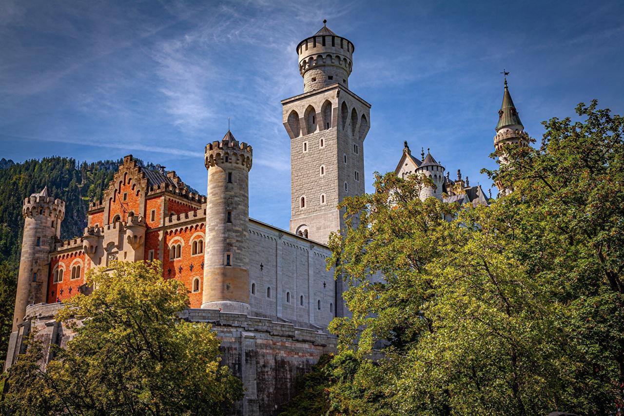 Фотографии Бавария Нойшванштайн Германия Башня Замки город башни замок Города