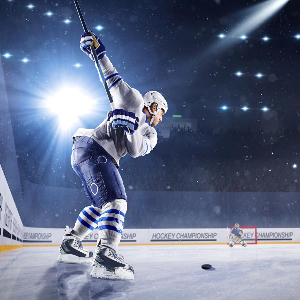 Wallpaper Rays of light Man Helmet Ice rink sports Hockey Uniform Men Sport athletic