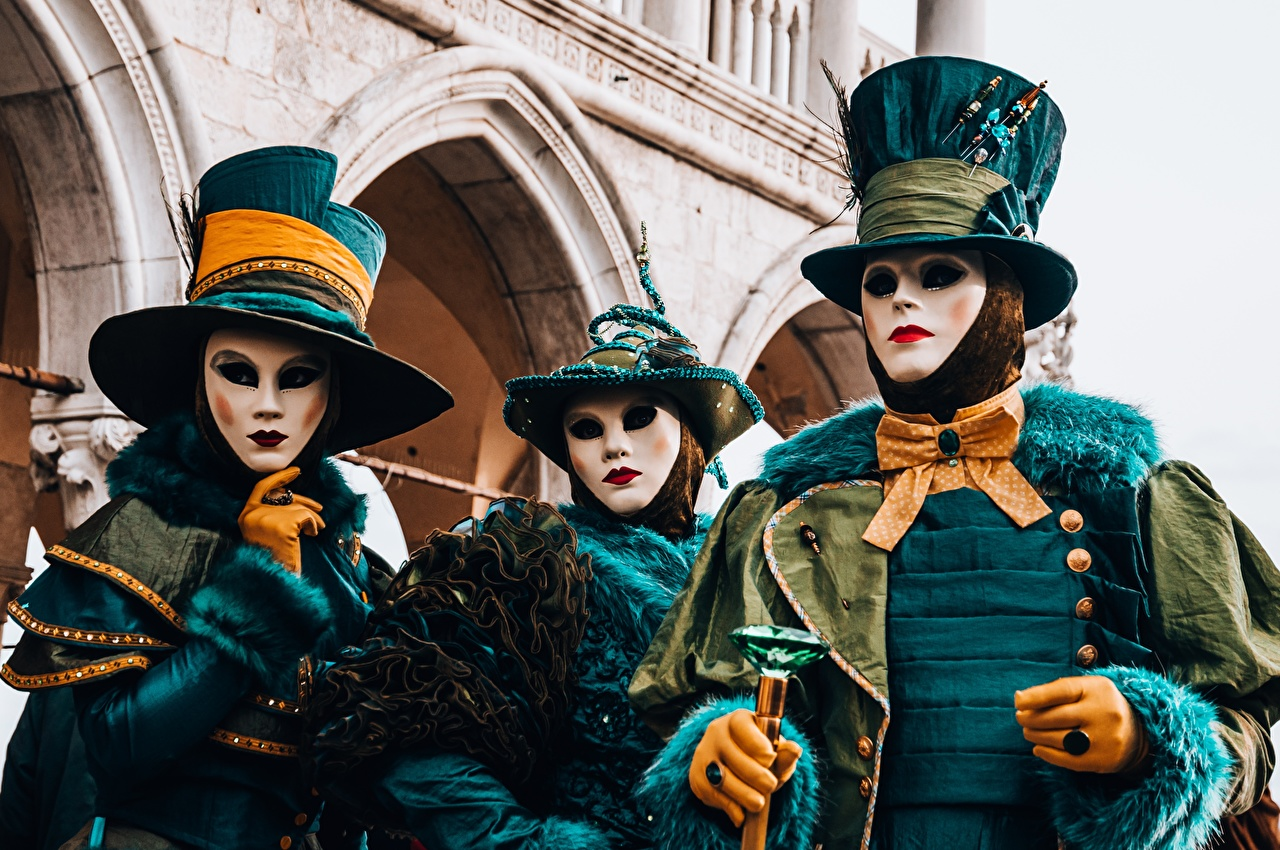 Desktop Wallpapers Venice Italy Glove Hat jewelry ring Masks Three 3 Bow tie Carnival and masquerade Ring