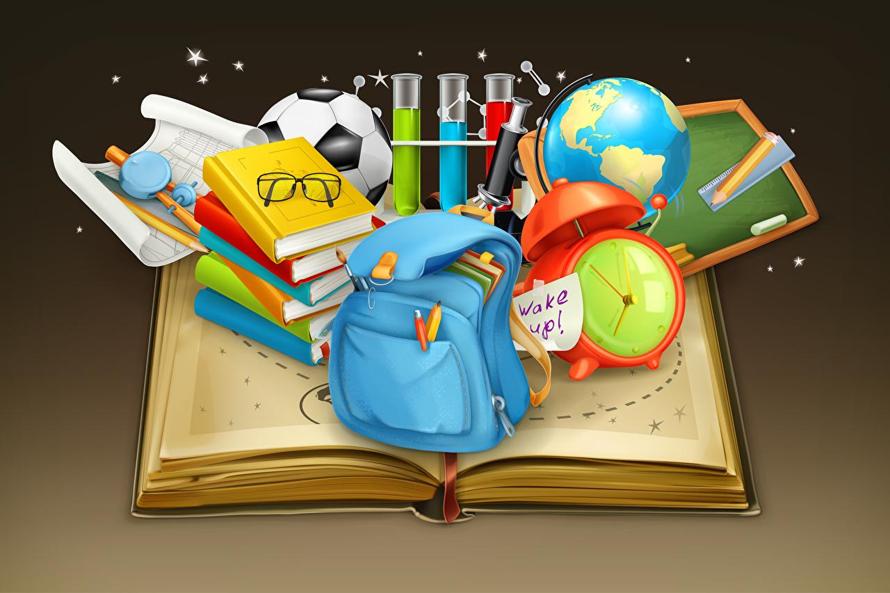 Pictures School Globe Clock Book purse Glasses Vector Graphics Colored background books Handbag eyeglasses