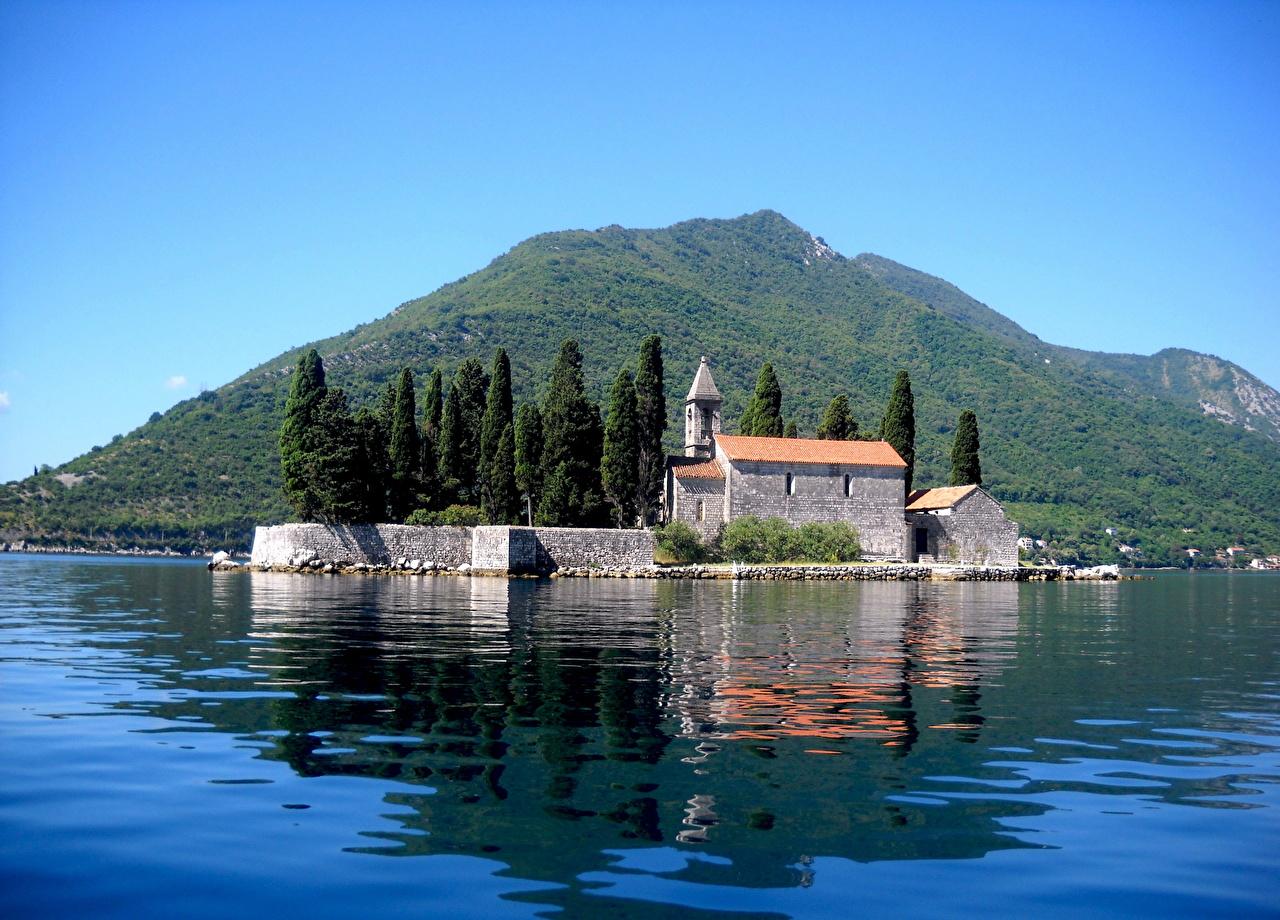 、モンテネグロ、島、水、St George Island、、都市、