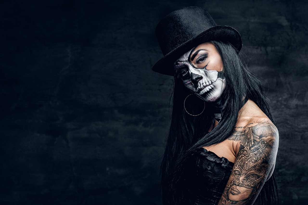 Desktop Wallpapers Tattoos Makeup Day Of The Dead Hat Girls