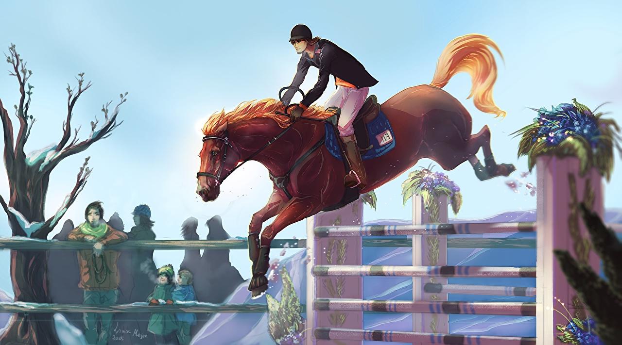 Wallpaper Horse Sport Equestrian Sport Jump Painting Art