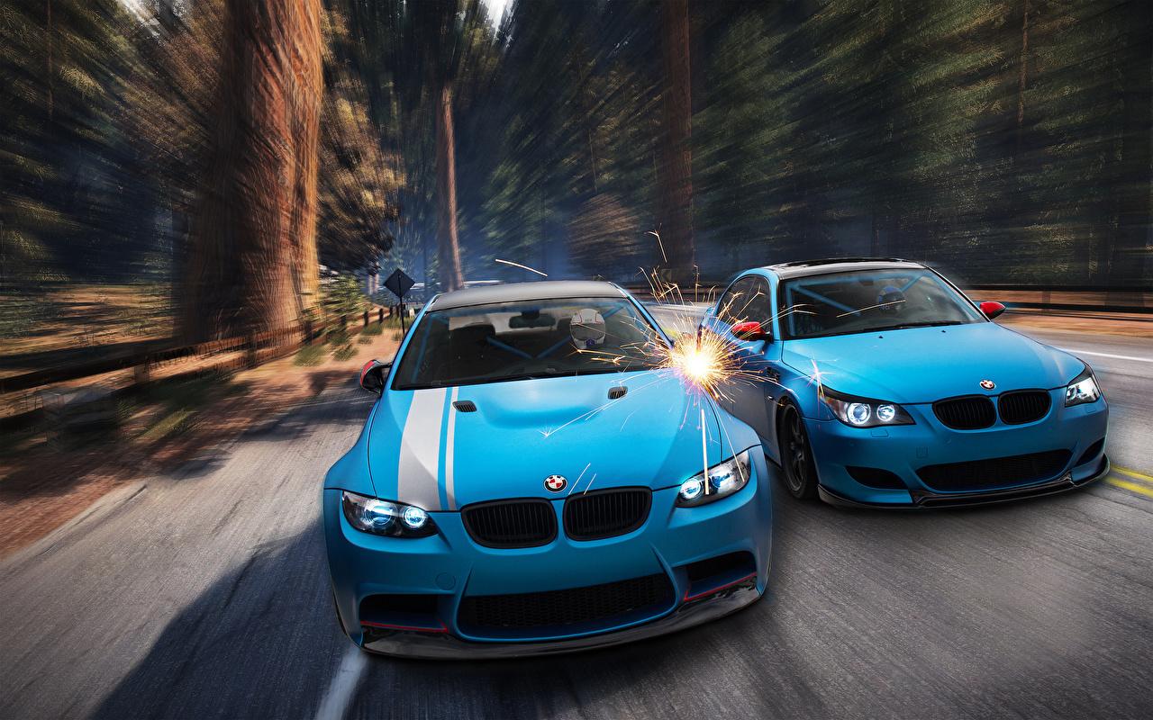 Sfondi del desktop BMW M3 E92 M5 E60 Due 2 Grafica 3D Celeste colore Davanti autovettura Auto macchina macchine automobile Vista frontale
