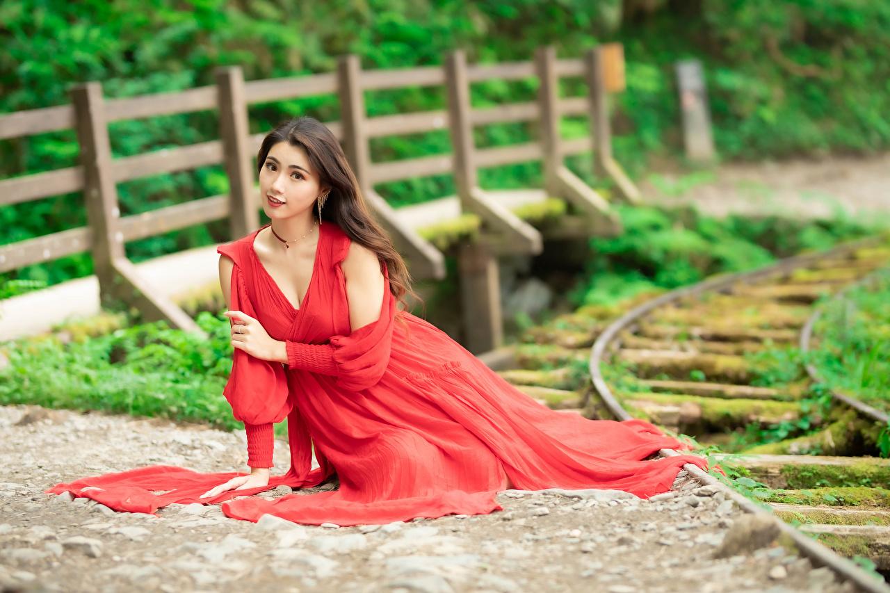 Bilder von Bokeh junge Frauen Asiatische Sitzend Starren Kleid unscharfer Hintergrund Mädchens junge frau Asiaten asiatisches sitzt sitzen Blick