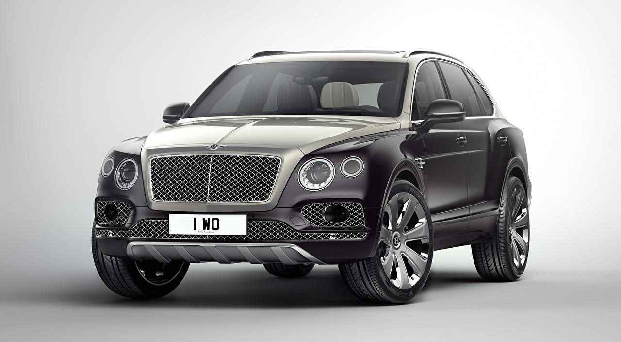Fotos Bentley Crossover Luxus graues automobil Metallisch Grauer Hintergrund Softroader Grau graue auto Autos